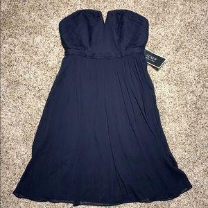 J Crew Navy Strapless Chiffon Party Dress Sz: 2, 4